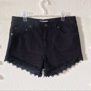 Free People | Laced Hem Denim Shorts